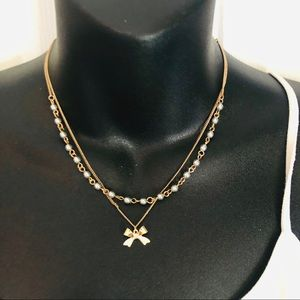 LC Lauren Conrad Gold bow  double layered necklace
